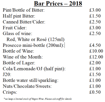 bar prices 2018